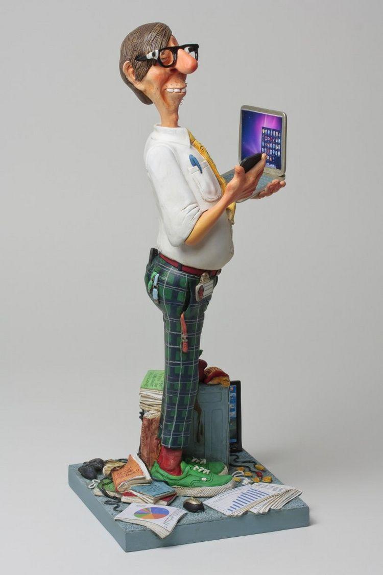 Francês Mestre da Arte Do Humor, Computer Master Escultura Presente de Aniversário Decoração Full-blown Autêntico Estátua caráter artesanato Velho