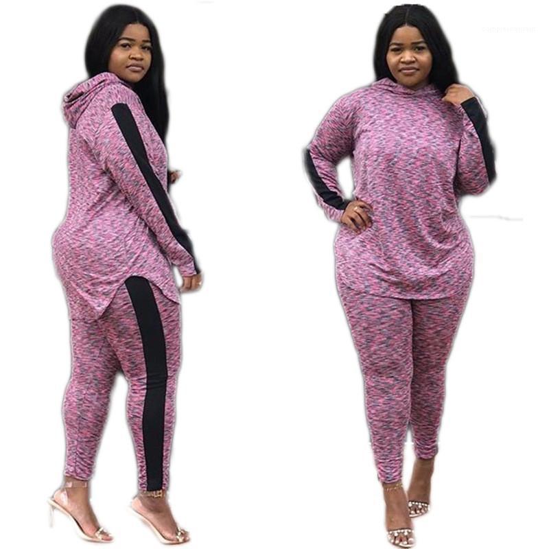 패션 긴 소매 풀오버 후드 2PCS 캐주얼 여성 정장 디자이너 운동복 후드 폴카 도트을 여자로 설정