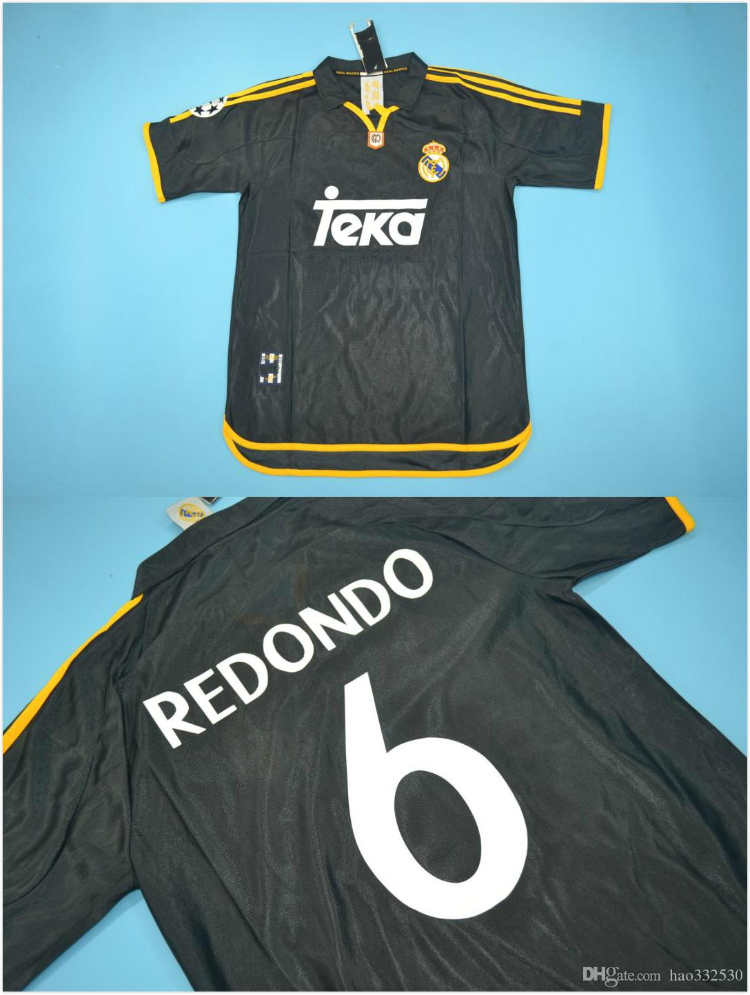 3 # R.CARLOS 7 # RAUL 6 # REDONDO quaity 99 ~ 00 Real Madrid version rugby noir jersey taille hommes blanc Retro Jersey