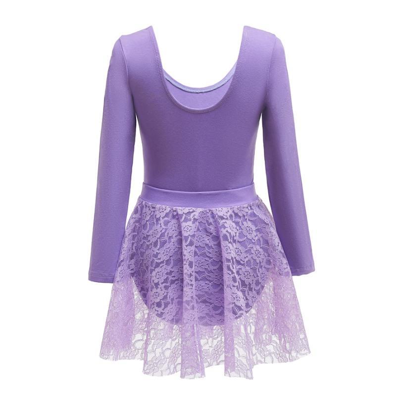 الاطفال فتاة الرقص ثوب طويل الأكمام القطن الرباط الديكور الرقص ممارسة اثنان من قطعة ومجموعة الجمباز البدلة الملابس BODYSUIT جديد