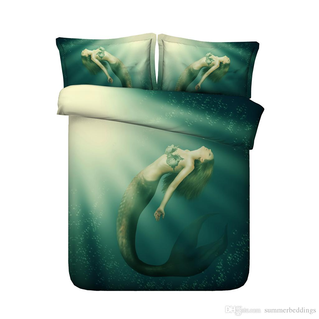 Green Mermaid Duvet Cover Set Kids Girls Ocean Sea Bed Comforter Cover 3 Piece Bed Cover with 2 Pillow Shams Bedspread Coverlet