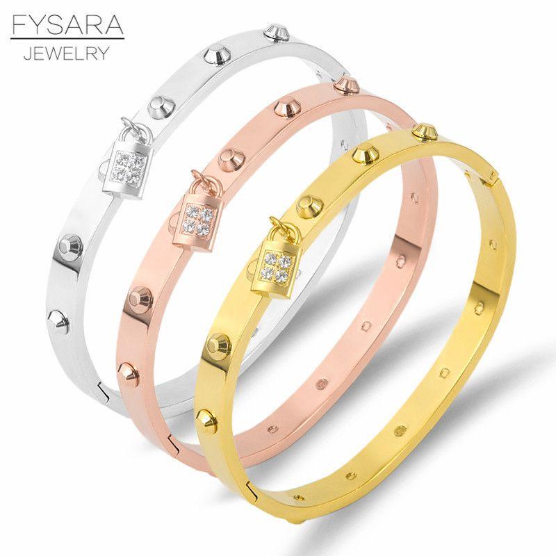 23bb8b36ea9 Fysara Luxury Classic Brand Belt Nail Rivet Bangles & Bracelets For Women  Stainless Steel Lock Crystals Pulseiras Punk Jewelry C19041302