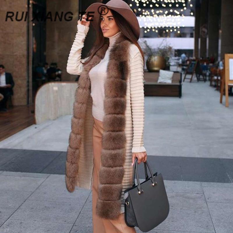 Uzun RuiXiangTeMX191009 dış giyim tilki yaka ılık kış ceket gerçek tilki kürk kış olan kadınlar gerçek kürk orijinal yün örgü