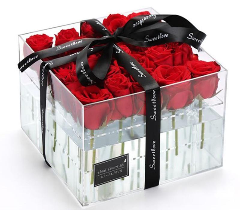 Superior acrylique clair Rose Présentoir Plateau Porte-Rose cadeau d'anniversaire Organisateur de fleurs Stirage Case Packging Box