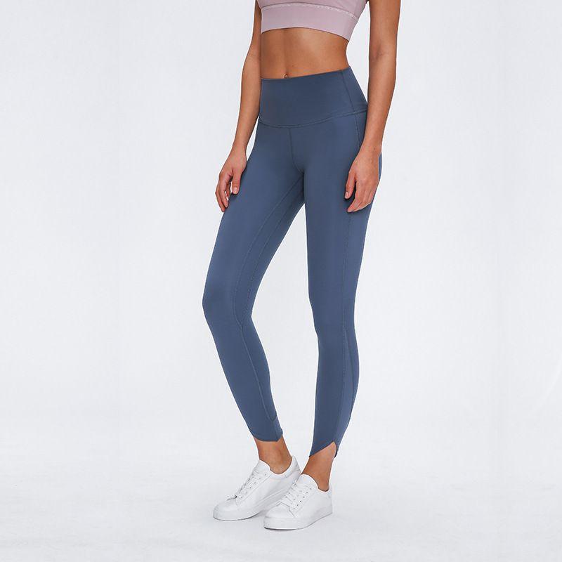 2020 ángulo oblicuo Gao cintura elástica pantalones de la yoga de la Fuerza apretado apto del color sólido de la cadera de elevación nueve puntos pantalones de fitness femenino