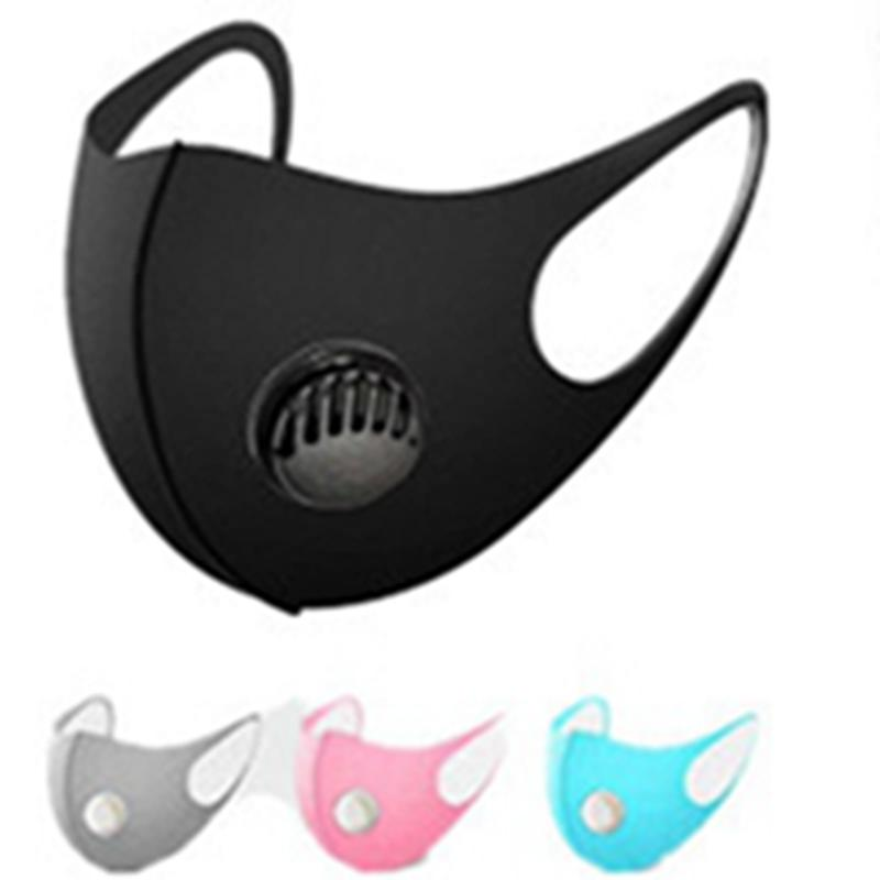 Auf Lager !! Designer Maske Ice Silk Gesichtsmaske mit Atemventil Waschbar Sponge Maske Wiederverwendbare Anti-Staub-Schutzmasken 4 Farbe EEA1583