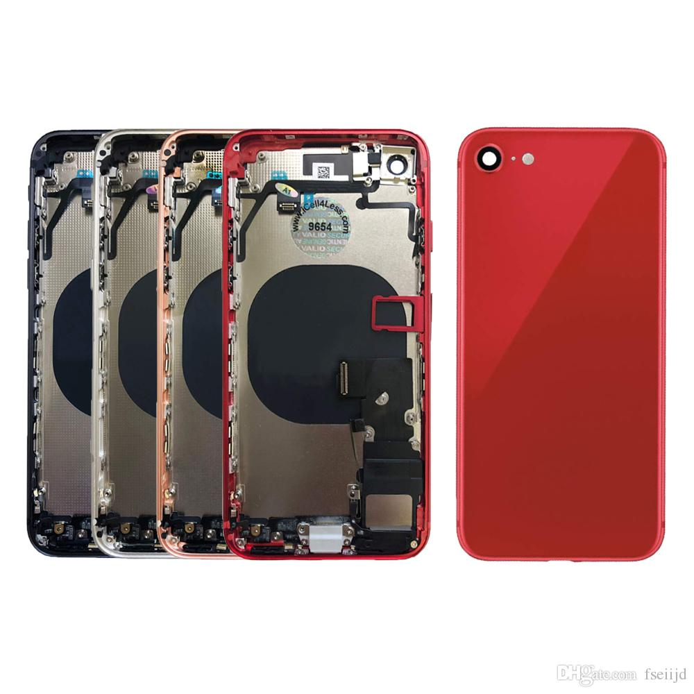 10pcs Logement pour iPhone Plein 8 8 Plus Retour Moyen Cadre capot arrière Châssis batterie Porte corps avec Flex Assemblée Pièces de câble