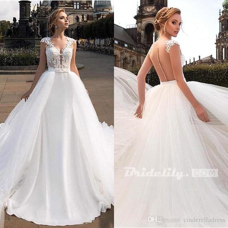 2020 Nueva sirena de los vestidos de boda del tren desmontable cuello en V mangas cap Sexy Beach vestidos de novia de encaje apliques BC3448