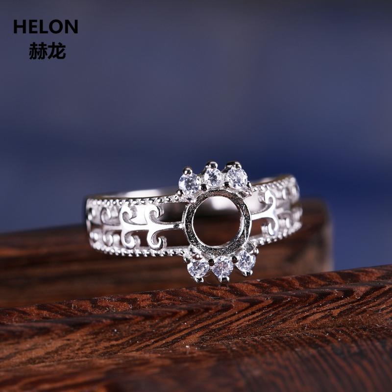 Amber DIY Stone için Kadınlar Kristal 6X6mm Yuvarlak Kabaşon Ayarı için 925 Gümüş Yüzük Yarı Dağı nişan Alyans