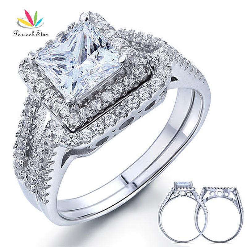 Peacock Star 1.5 Carat Princess Solid 925 Sterling Silver Wedding Promise Anello di fidanzamento Set Cfr8141 J190716