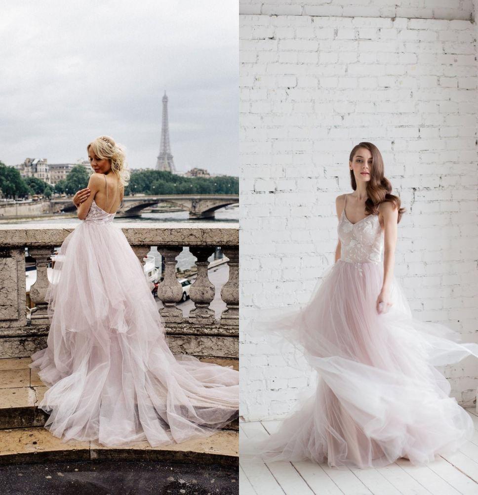 Sexy Spaghetti Open Back Bohemian Wedding Dresses 2019 Elegant Lace Appliqued Cheap Plus Size Boho Beach Bridal Gown