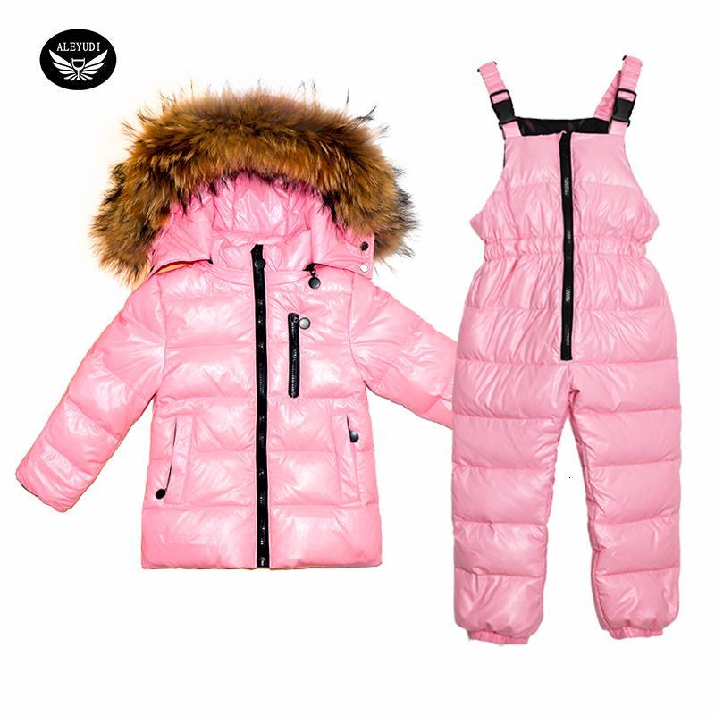 Traje de los niños de invierno por la chaqueta de las muchachas de pato blanca en abrigos y pantalones del babero grueso traje de dos piezas de ropa impermeable CJ191129