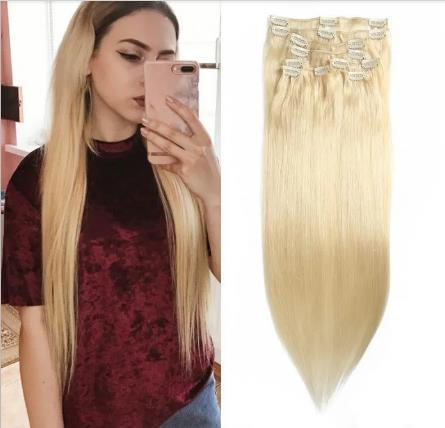100g 613 Lightest Blonde Clip In Hair Extensions Cheap Virgin Hair Extensions 8Pcs set from China