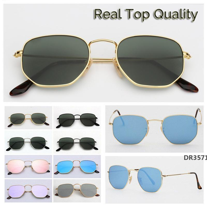 Womens-Sonnenbrillen 3548 Sechseck-Metall-Sonnenbrillen-flache Glaslinsen 11 Farben mit Kasten und Paketen AllesDr3571