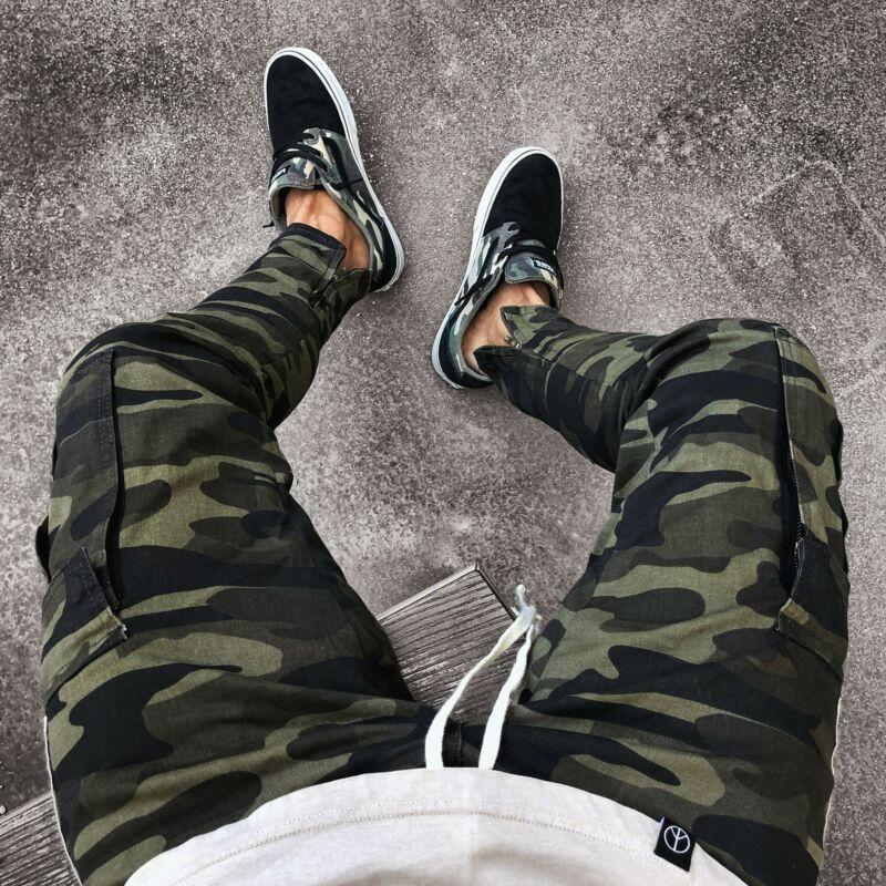 Mens Relaxed-Fit Cargo Pants Multi Pocket Military Camo Combat Work Pants