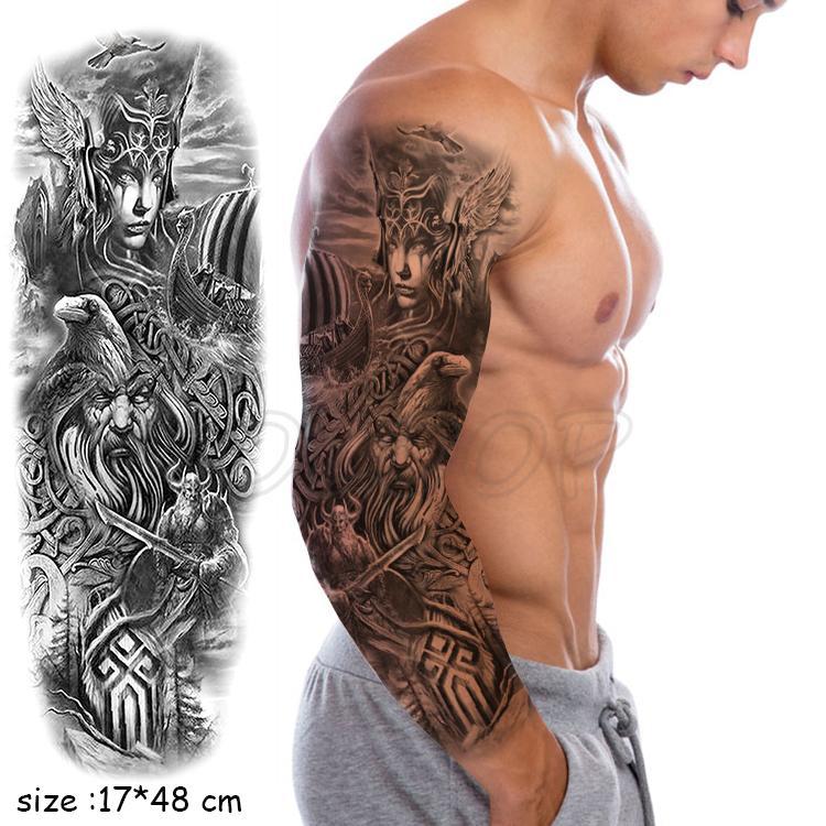 Plein bras étanche bateau oiseau tatouage temporaire autocollant worrior couteau aigle Faux Tatoo Autocollants flash Tatto Pour Hommes Femmes 05