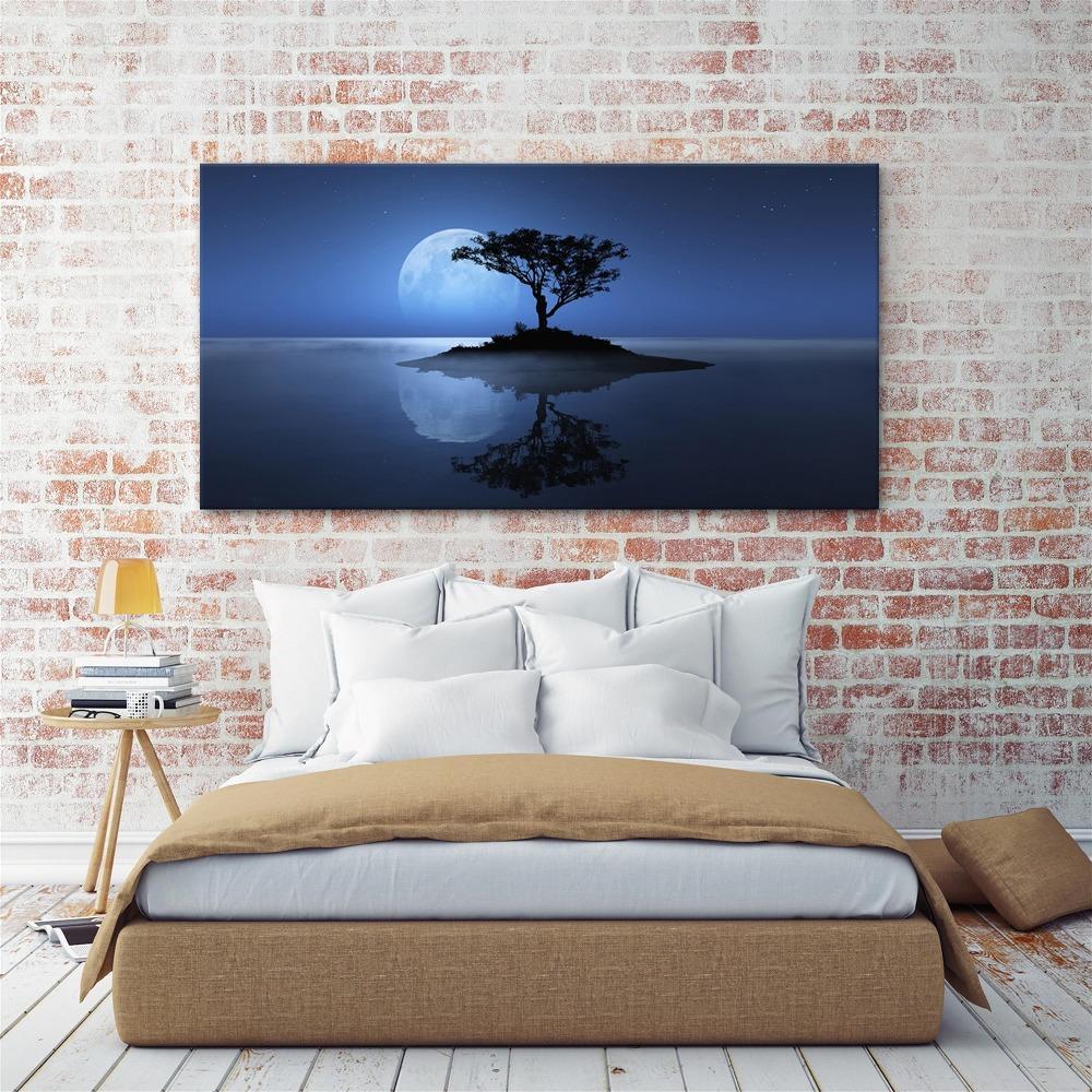 Decorazione Della Casa Poster di Arte Della Parete Modulare immagini su tela 1 pezzi albero astratto blu Luna Notte scena pittura di paesaggio HD Stampa