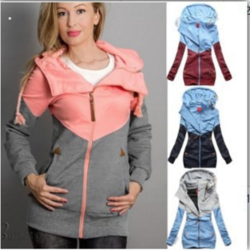 Женщины Толстовка с длинным рукавом с двойной молнией пуловер с капюшоном Осень свитер Цвет соответствия Мода Корейская версия Спорт Looseness Одежда