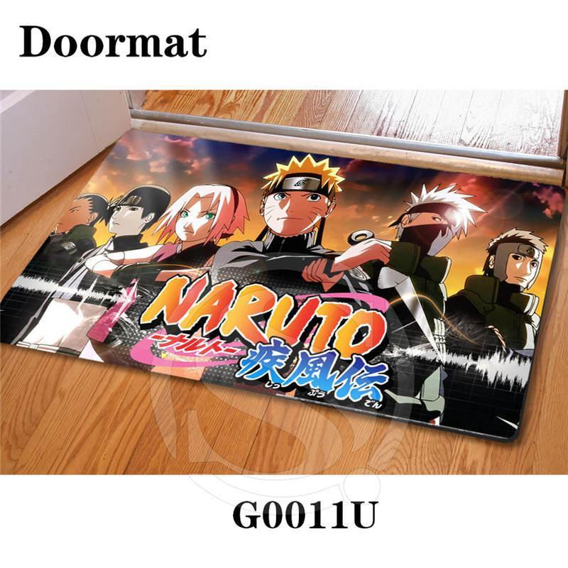 Su ordinazione libero di trasporto Anime Giapponese naruto Zerbino Art Pattern stampato tappeto pavimento sala camera da letto pad Fresco Moda Tappeto Sq0603 t200415