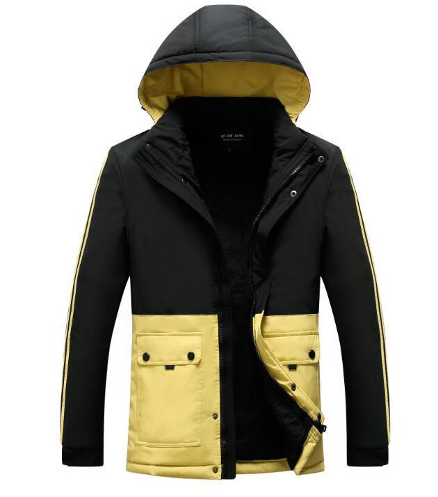 cappotti incappucciati degli uomini di modo autunno inverno più giacca di cotone caldo velluto cuciture uomini giacca di cotone cappotto imbottito CAPPOTTO Windbrea Outerwear