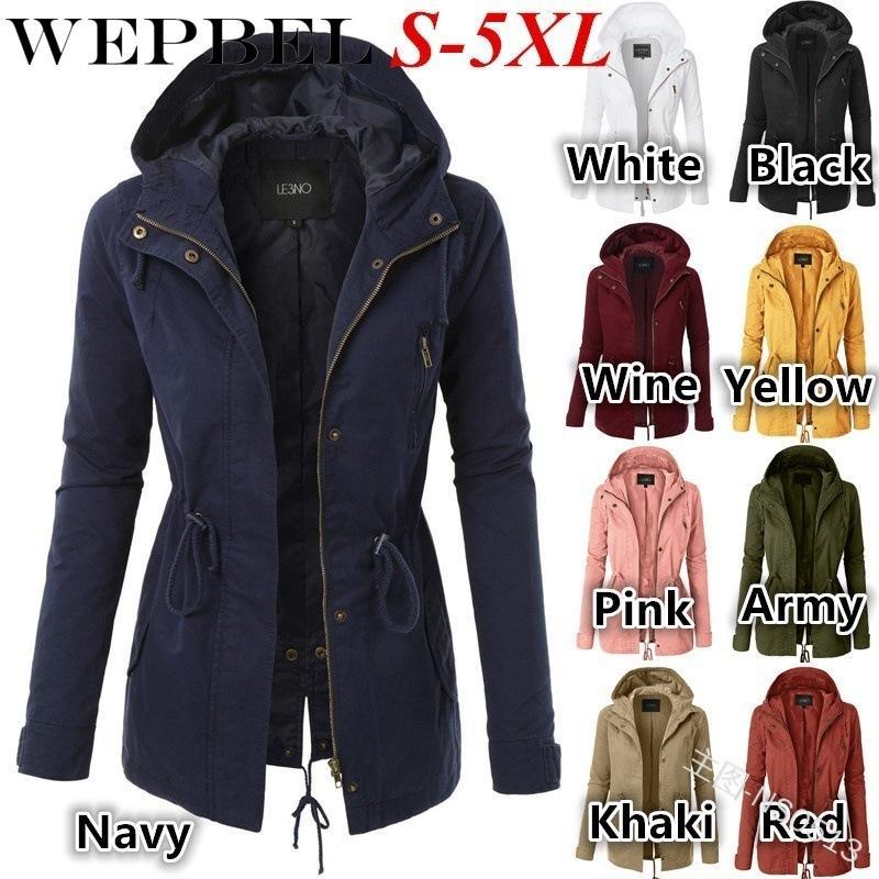 WEPBEL Donna Giacche slim Outwear Manica intera Autunno Inverno Moda casual Scollo a V Cerniera con felpa con cappuccio Lady Top Jacket S-5XL