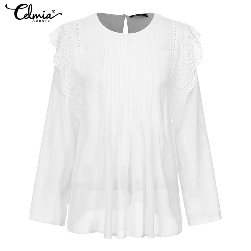 2021 5xl Celmia Women Ruffles Transparent Blouses Embroidered Lace Shirt 2019 Autumn Elegant Long Sleeve Pleated Casual Chiffon Top From T Shop008 15 47 Dhgate Com
