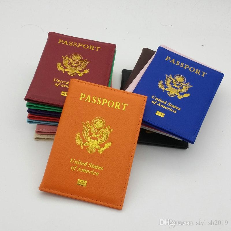 Hot Sales cas passeport américain Portefeuilles Porte-cartes de couverture Case ID Porte-Protecteur PU cuir Voyage 16 couleurs couverture du passeport wcw642