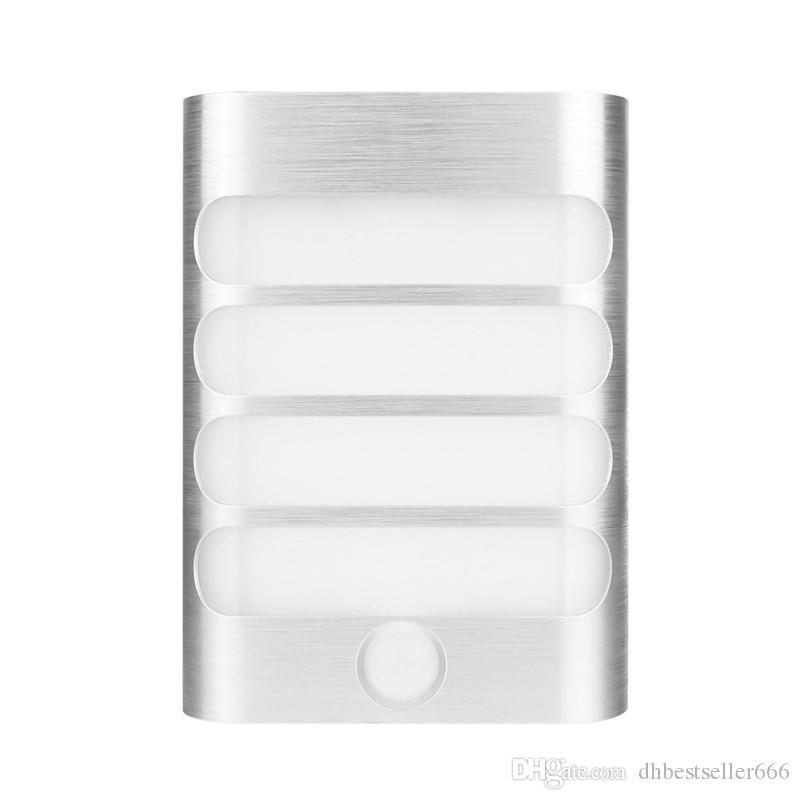 Modern Night Light Sensor de Movimento Ativado LEVOU Luz De Parede Bateria Operado Lâmpada de Cabeceira para Casa Espelho Do Banheiro Corredor Branco Fresco