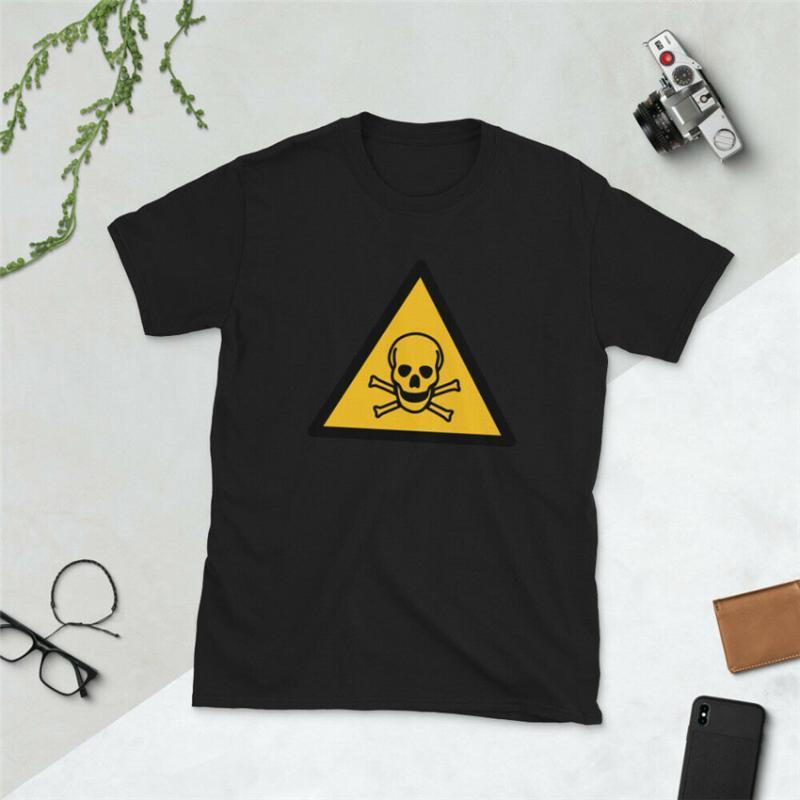 Attention Danger Crâne mort manches courtes unisexe T-shirt unisexe coupe ample T-shirt