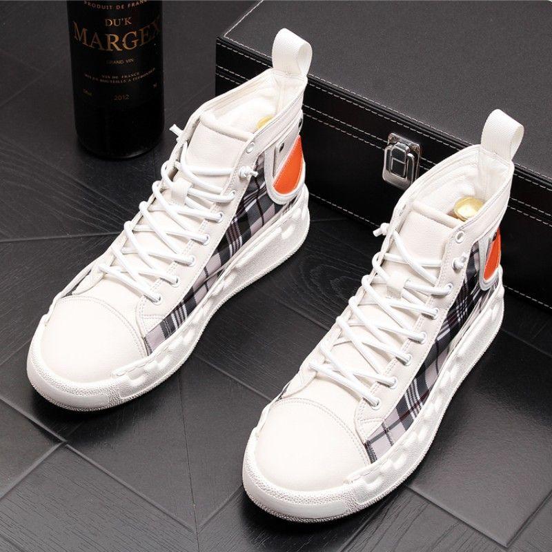 chaussures de haute-top haute qualité des hommes à la mode personnalité chaussures casual planche semelles épaisses pour les hommes chausse des bottes en cuir respirant court B46