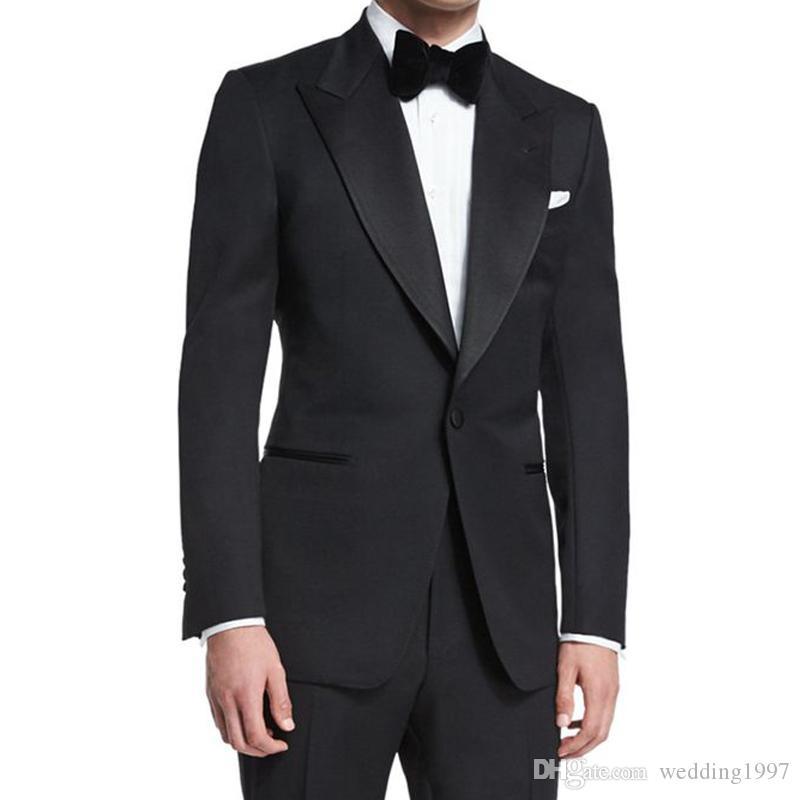 Düğün Damat Smokin Balo Slim Fit Adam için Suits 2019 Doruğa Yaka 2 Parça Ceket Pantolon Beyefendi Erkekler Kostümleri