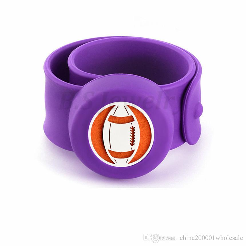 American football Kids Bangle Mosquito Repellent Bracelet Essential Oil Diffuser Bracelets Children Snap Silicone Bangles