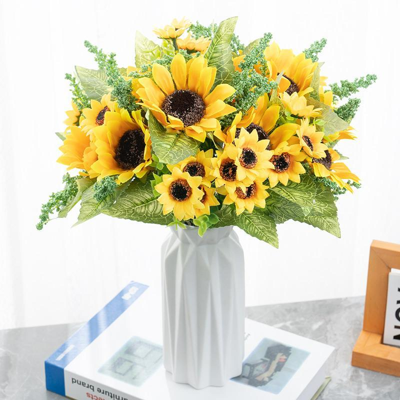 Artificial Sunflower Artificial Flowers Silk Sunflower for Home Decor Party Garden Decor Hotel Wedding Decoration fake flower Crafts EEA1588