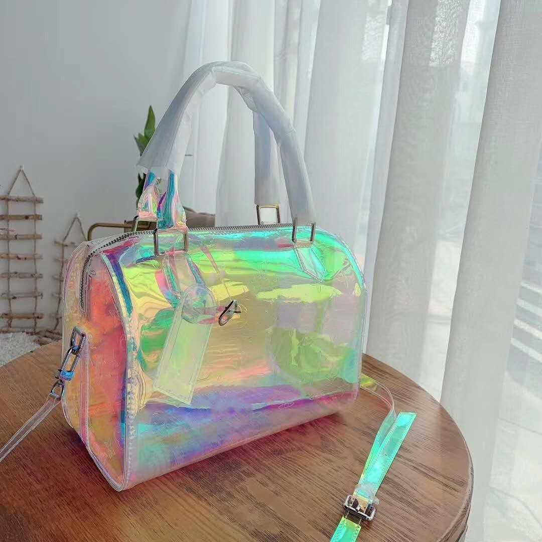 ysiykiy дизайнерские сумки классические роскоши лазерная вспышка PVC Duffle мешок блестящий цвет багажника дорожная сумка емкостью Handba ясно