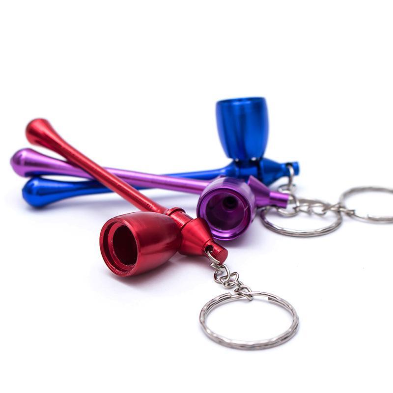 Küçük Pocket Metal Boru Aksesuarları Taşınabilir Yeni Mini Tütün Duman KeyChain Mantar Boru Nargile Rastgele Renk DBC VT0184