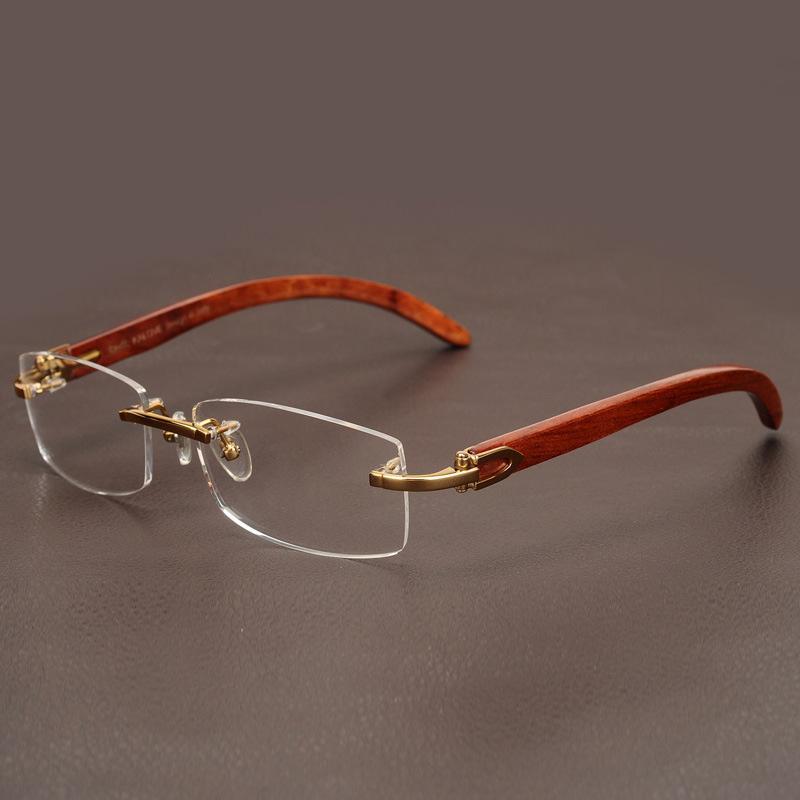 AZB Wooden Glasses Frame Men Gold Rimless Eyeglasses Frames for Man Myopia Diopters Optical Prescription glasses