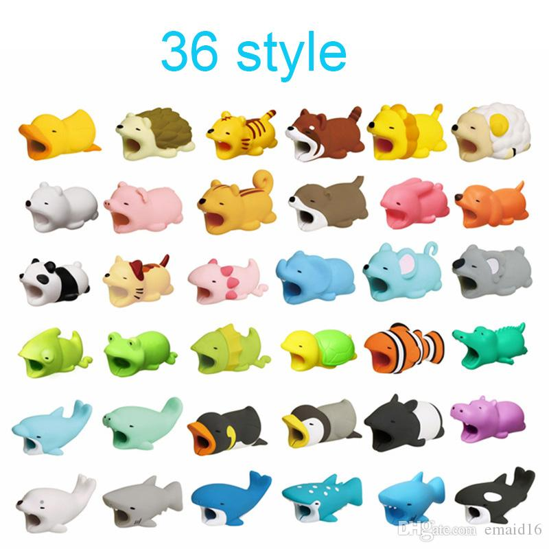 كابل الحيوانات دغة 36styles Cable protector Savor Cover for iPhone Lightings تصميم حيوان لطيف شحن الحبل واقية لا حزمة البيع بالتجزئة