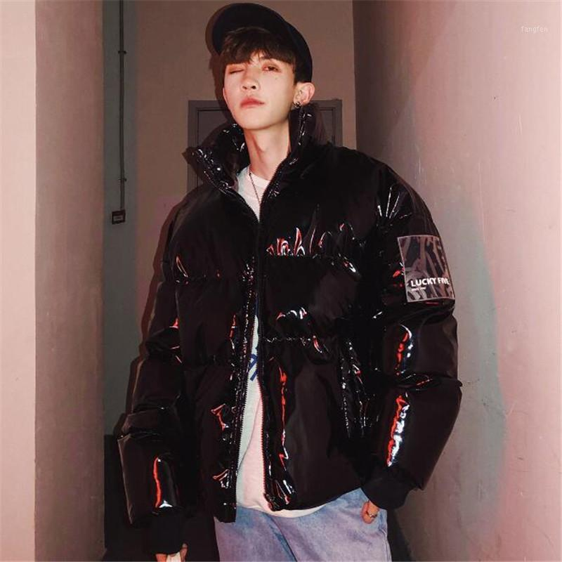 Moda stile coreano in stile brillante uomo 2019 inverno nuovi uomini inverno palla giacca vestiti hip hop parka bolla luminosa cappotto1