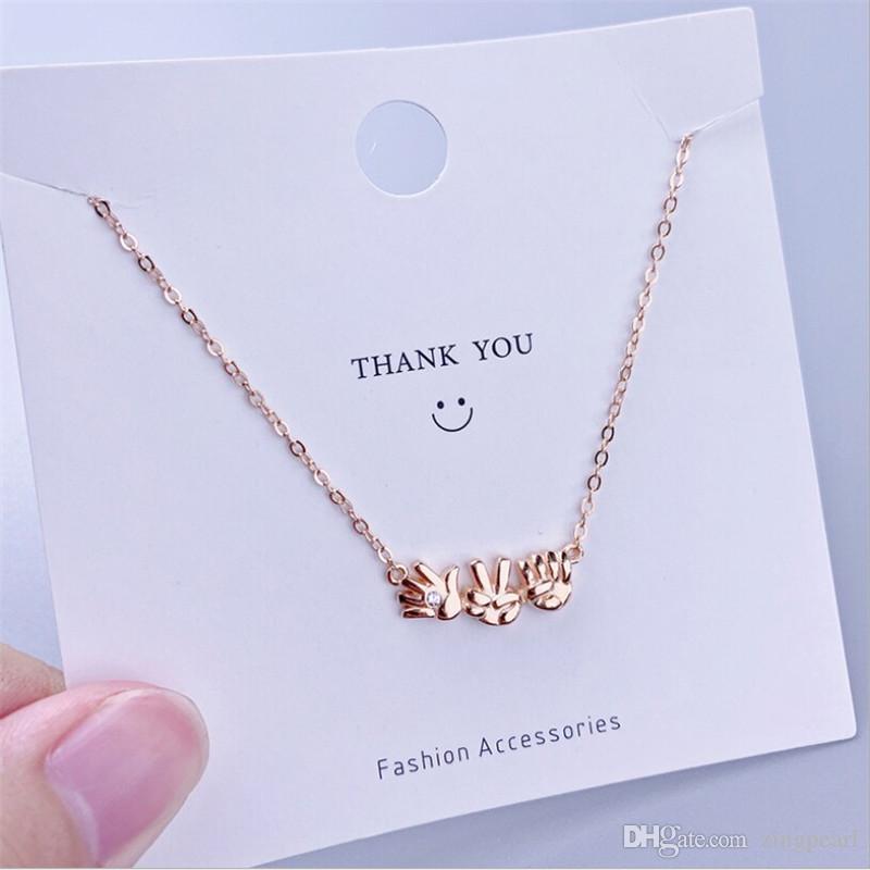 Rock Paper Scissors Colar Pingente 520 Eu te amo Rosa de Ouro Sliver criativa colares Presente de Natal coreano Moda Jóias