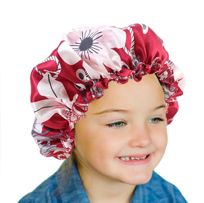 New Fashion Kids Satin Night Sleep Cap Hair Bonnet Hat Silk Head Cover Elastic Band Nightcap Bath Spa bonnet de nuit