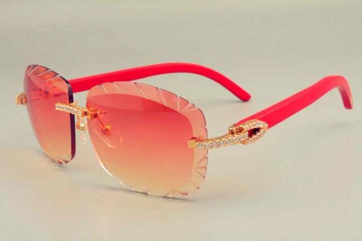2019 الجديدة عدسة الساخن بيع نظارات شمس 8300715 الطبيعي الأحمر ذراع خشبي نظارات جدا، مرآة الفاخرة الماس للجنسين ظلة،