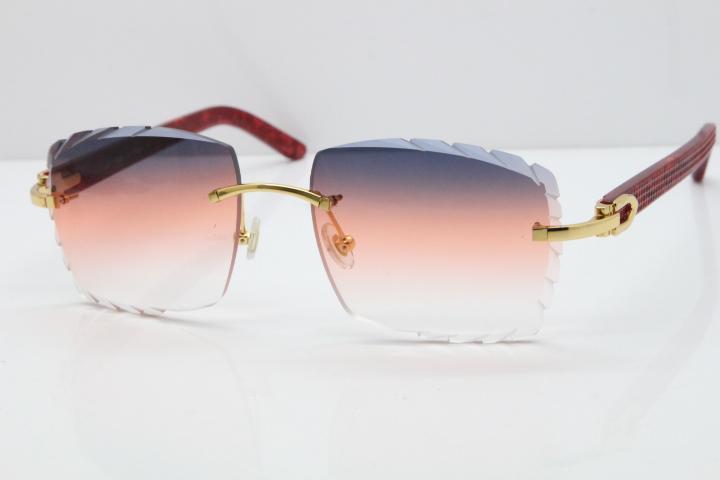 vendita all'ingrosso di marmo 3524012 Nuova adumbral Metal Mix Red Plank Arms Rimless intagliato Lens occhiali da sole con il contenitore blu unisex occhiali marchio di moda