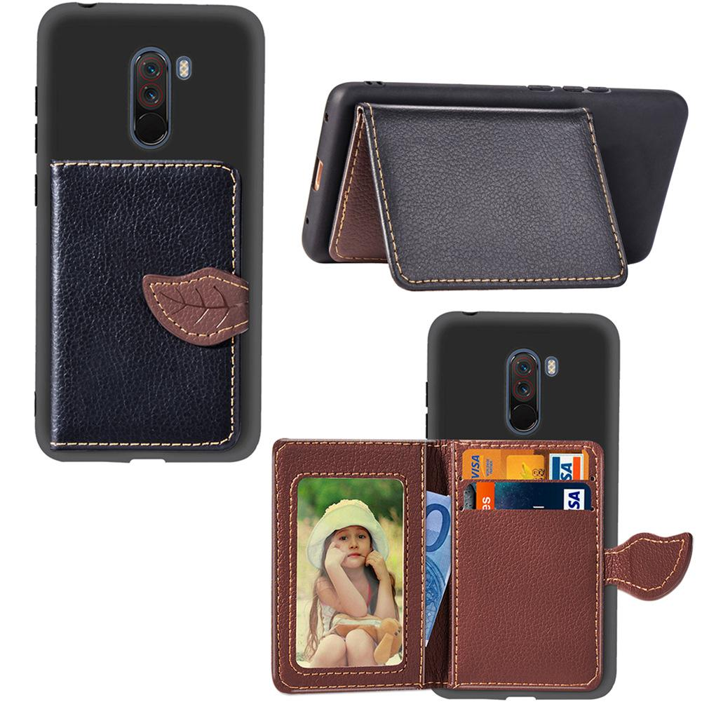 Slim Wallet Case for Xiaomi PocoPhone F1 Light Weight Phone Stand Leaf Clip with Card Slot Money Pocket 97 Models for Option