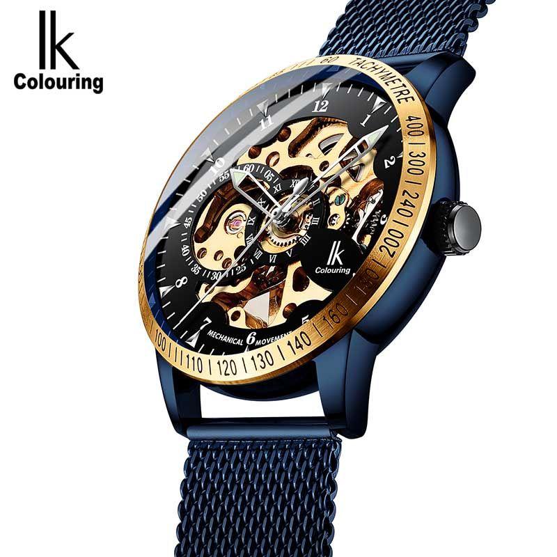남성 '시계 자동자가 바람 기계식 시계 남성 시계 손목 시계 스테인레스 스틸 스트랩 IK 색상에 대한