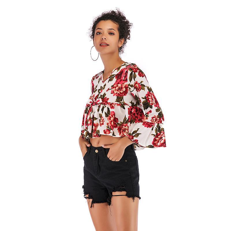 2020 svasato manica floreale camicette di moda le ragazze chiffon delle nuove donne Camicia casual manica lunga spalle Stampa Bassiera