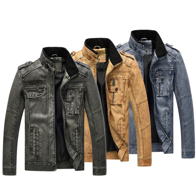 2020 autunno della molla uomini sottili colletto alla coreana giacca di pelle lavata giacca di pelle PU Codice europeo formato grande moto cappotto maschile