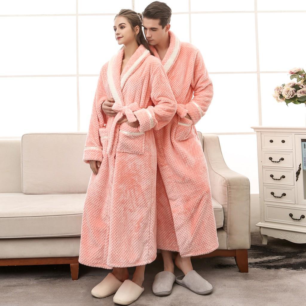 Las parejas de moda de invierno casual para hombre albornoces franela Robe Invierno alargado Albornoz Empalme casa Ropa Manga larga túnica
