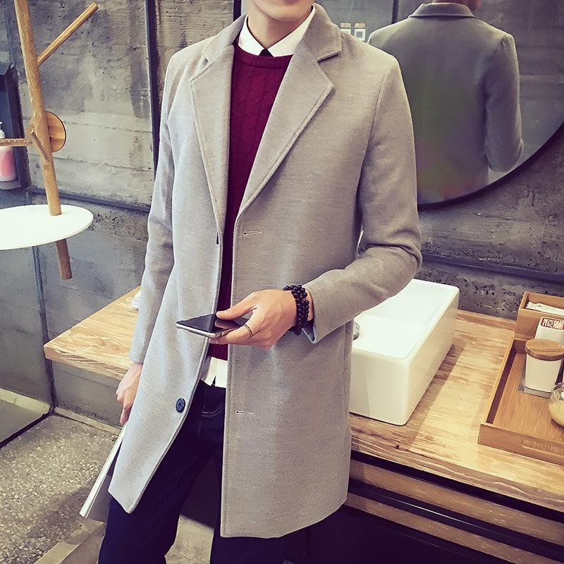 Kış Yün Coat Erkekler Boş Uzun Bölümler Yün Palto Erkekler Saf Renk VogueFashion ceketler VogueMen Palto Güzel