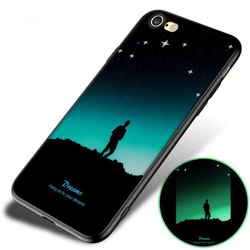 Casos Noctilucous Celular processo de silicone macio 10 cores para Iphone XS MAX XR X 6s 7 8plus Huawei OPPO VIVO Xiaomi