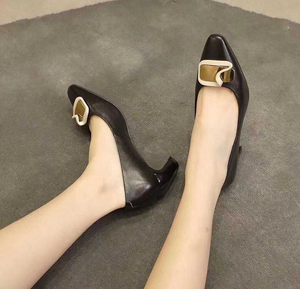Fashonville ~ 2020030801 5,5 cm in vera pelle beige nero fibbia oro gattino chunky tacchi scarpe agnello pelle di lavoro moda moda